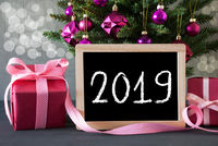 Tree With Pink Gifts And Presents, Bokeh, Text 2019