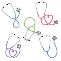 Set of different color stethoscopes icon, medical equipment