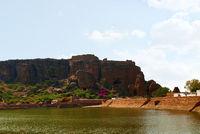 View of Agastya Lake and badami caves, Badami, Karnataka.