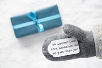Turquoise Gift, Glove, Gutes Neues Jahr Means Happy New Year
