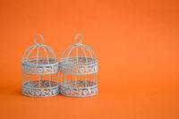 Wrought Iron Candle Holders on Orange