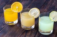 Assortment of citrus juices