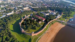 Aerial view on Novgorod Kremlin Russia