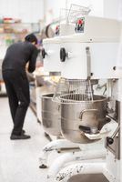 Industrial mixer kneading machine, at kitchen of the pastry shop.
