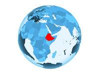 Ethiopia on blue globe isolated