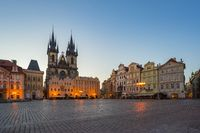 Prague old town square with view of Tyn Church in Czech Republic