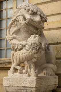 Lion marble face, Chinese Lion, stone carving sculpture ,the symbol of Power