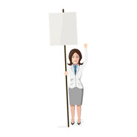 Woman with blank poster, flat character isolated on white