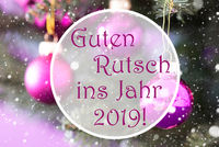 Rose Quartz Christmas Balls, Guten Rutsch 2019 Means New Year