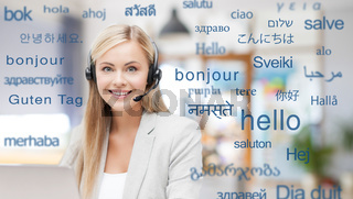 woman in headset over words in foreign languages
