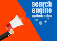 SEO. search engine optimization. Flat design business concept Digital marketing business man holding megaphone for website and promotion banners.
