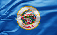 Waving state flag of Minnesota - United States of America