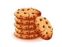 Vector chocolate crumbs chips isolated on white background. Realistic homemade choco chip cookies vector illustration.