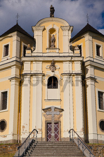 Church on the top of Makova hora near Smolotely village, Czech Republic.