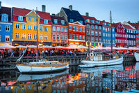 Nyhavn illuminated at night, Copenhagen