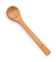 Top view of old wooden spoon
