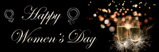 Card Happy Women's Day with two champagne glasses and women's signs on black background