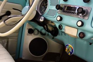 wheel of old car, interior of the car
