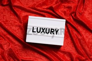 luxury text lightbox on red velvet background