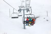 Ski lift in snow storm