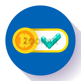 bitcoin accepted here icon vector flat style.