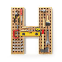Letter H. Alphabet from the tools on the metal pegboard isolated on white.