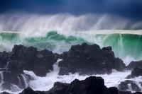 Wall of water like tsunami - turbulent waves of Pacific ocean