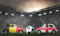 Belgium and England cars on football stadium