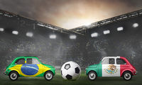 Brazil and Mexico cars on football stadium