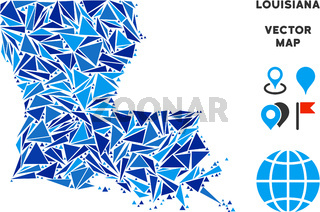Blue Triangle Louisiana State Map