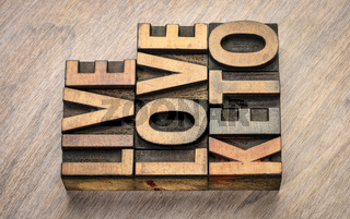 live, love keto word abstract in wood type