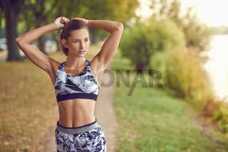 Slender fit shapely woman in sportswear