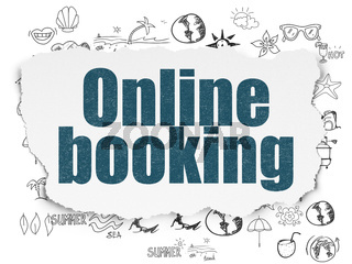 Tourism concept: Online Booking on Torn Paper background