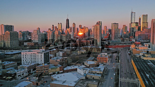 Golden Light Night Sunset over Downtown City Skyline Chicago Illinois