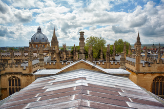 Oxford university as seen from the cupola of Sheldonian Theatre. Oxford. England