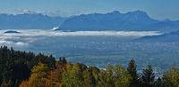 Blick vom Pfänder zum Alpstein, Säntis und Altmann, in den Schweizer Alpen