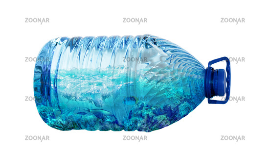 Sea life in plastic bottle isolated on white background. Ecology pollution concept. Environment disaster