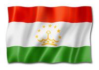 Tajikistan flag isolated on white