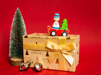 Christmas decoration gift box with red background