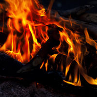 Campfire in camping at night