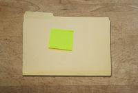 Sticky note on folder