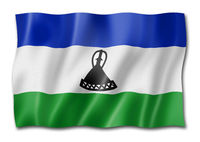 Lesotho flag isolated on white