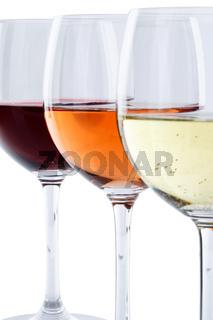 Weingläser Wein Gläser Weißwein Rotwein Rose Alkohol Hochformat freigestellt Freisteller