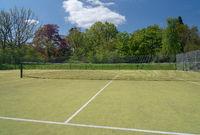 Open view of tennis court on artificial grass