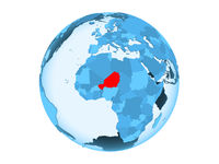 Niger on blue globe isolated