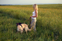 Blond woman walking her dogs at sunset