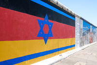 Flag of Germany and Israel painted on Berlin Wall / East Side Gallery