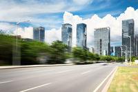 empty asphalt road in modern city