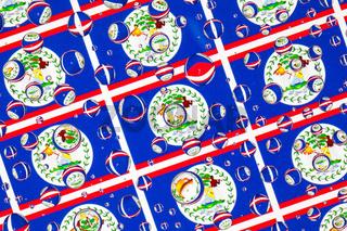 Rain drops full of Belize flags
