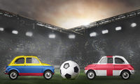 Colombia and England cars on football stadium